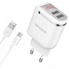Зарядное устройство сетевое Jellico WJ-C80 LED 2USB 2.4A White (RL055232) + cable Type-C