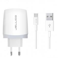 Зарядное устройство сетевое Jellico B25 1USB 2.1A White (RL056726) + cable USB-MicroUSB