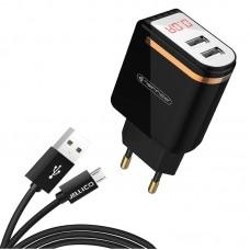 Зарядное устройство сетевое Jellico WJ-C80 LED 2USB 2.4A Black (RL057586) + cable USB-MicroUSB