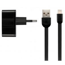 Зарядное устройство сетевое Remax 2USB 2.4А Black (RP-U215I-BLACK) + cable USB-Lightning