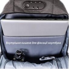 Рюкзак для ноутбука 15.6 Grand-X RS-425G Grey (кодовый замок)