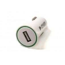 Адаптер автомобильный PowerPlant 1USB 2.1A White (SC230129)