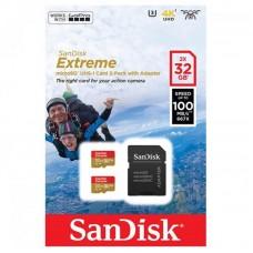 Карта памяти MicroSDHC 32GB UHS-I/U3 Class 10 SanDisk Extreme A1 R100/W60MB/s + Adapter SD