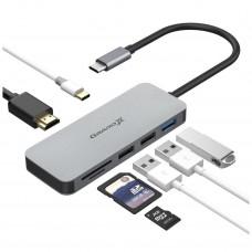 USB HUB 3 в 1 Grand-X PD Сharging Type-C-HDMI 3USB 3.1 OTG CR Grey (SG-512)