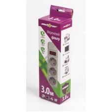 Сетевой фильтр Maxxter 3 розетки 3m 10A White