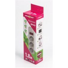 Сетевой фильтр Maxxter 3 розетки 1.8m 10A White