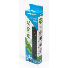 Сетевой фильтр Maxxter 5 розеток 4.5m 10A Black