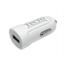 Адаптер автомобильный Tecro 1USB 2.1A White (TCR-0121AW)