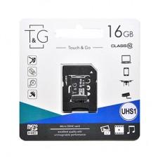 Карта памяти MicroSDHC 16GB UHS-I Class 10 T&G + Adapter SD (TG-16GBSD10U1-01)