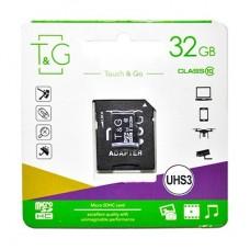 Карта памяти MicroSDHC 32GB UHS-I U3 Class 10 T&G + Adapter SD (TG-32GBSD10U3-01)