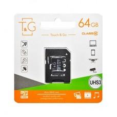 Карта памяти MicroSDHC 64GB UHS-I U3 Class 10 T&G + Adapter SD (TG-64GBSDU3CL10-01)