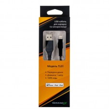 Кабель USB-Lightning Grand-X MFI 1m Black (TL01)