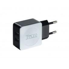 Зарядное устройство сетевое Tecro 2USB 2.1A Black TR-CHG02-BW
