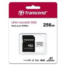 Карта памяти MicroSDXC 256GB UHS-I U3 Class 10 Transcend 300S A1 + Adapter SD (TS256GUSD300S-A)