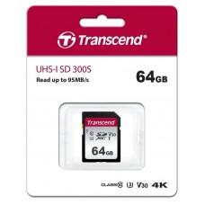 Карта памяти SDXC 64GB UHS-I U3 Class 10 Transcend 300S (TS64GSDC300S)
