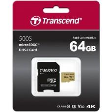 Карта памяти MicroSDXC 64GB UHS-I U3 Class 10 Transcend 500S + Adapter SD (TS64GUSD500S)