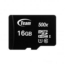 Карта памяти MicroSDHC 16GB UHS-I Class 10 Team Black + Adapter SD (TUSDH16GCL10U03)