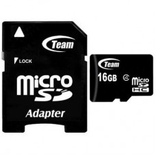 Карта памяти MicroSDHC 16GB Class 4 Team + Adapter SD (TUSDH16GCL403)