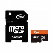 Карта памяти MicroSDHC 32GB UHS-I Class 10 Team + Adapter SD (TUSDH32GUHS03)