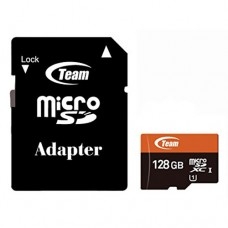Карта памяти MicroSDXC 128GB UHS-I Class 10 Team + Adapter SD (TUSDX128GUHS03)