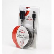 Удлинитель USB-USB 2.0 активный Cablexpert 5m Black (UAE-01-5M)
