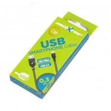 Кабель USB-MicroUSB BM Maxxter 0.3m Black