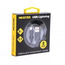 Кабель Maxxter USB-Lightning 2m Black (UB-L-USB-02-2m)