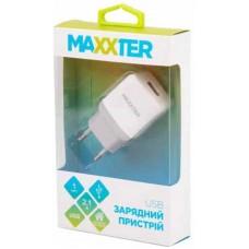 Адаптер сетевой Maxxter 1USB 2.1A White (UC-24A)