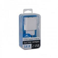 Адаптер сетевой Rivacase 2USB 3.4A White (VA4123 W00)