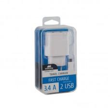 Зарядное устройство сетевое Rivacase 2USB 3.4A White (VA4123 WD1) + cable USB-MicroUSB