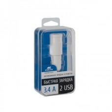 Адаптер автомобильный Rivacase 2USB 3.4A White (VA4223 W00)
