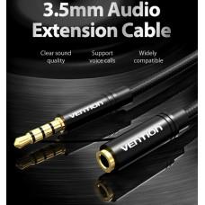 Удлинитель Audio Aux 3.5мм-3.5мм M/F Vention gold-plated 0.5m Black (VAB-B06-B050-M)