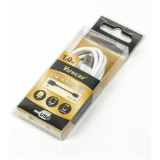 Кабель USB-MicroUSB Viewcon 1m плоский White