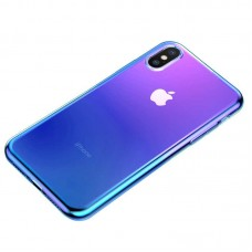 Чехол накладка TPU Baseus Glow для iPhone XS Max Transparent Blue (WIAPIPH65-XG03)