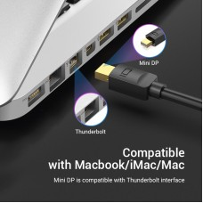 Кабель MiniDisplayPort-HDMI v.1.4 Vention 4K 30Hz gold-plated 3m Black (HAHBI)