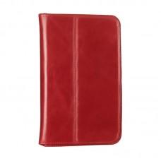 Чехол книжка кожаный WRX Premium для Samsung Tab 3 7.0 Lite T110 T111 Лак красный
