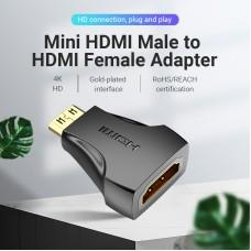 Адаптер HDMI-miniHDMI Vention 4K 30Hz 3D Visual Effects Upgraded gold-plated Black (AISBO)
