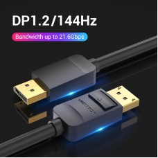 Кабель DisplayPort-DisplayPort v1.2 Vention 4K 60Hz 21.6Gbps gold-plated 5m Black (HACBJ)