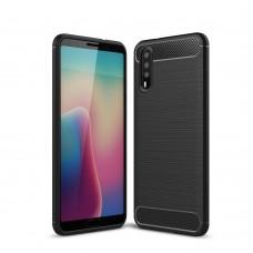 Чехол накладка TPU SK Fiber Carbon для Huawei P20 Black