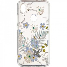 Чехол накладка TPU Diamond Younicou New для Xiaomi Redmi 7 Blue Flowers