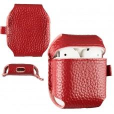 Чехол кожаный SK для наушников AirPods Red