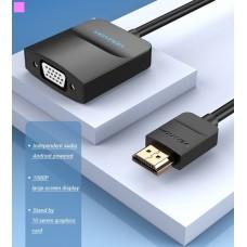 Адаптер HDMI-VGA v.1.4 Vention 1080P 60Hz 0.15m 3.5 audio microusb power Black (ACFBB)