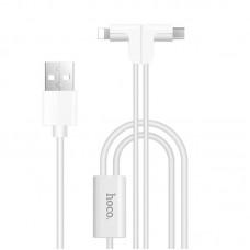 Кабель USB 2 в 1 Lightning Micro Hoco X12 Magnetic L Shape 1.2m белый