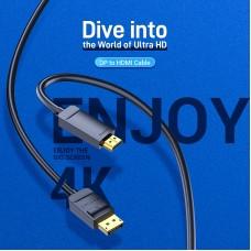 Кабель DisplayPort-HDMI v.1.2 Vention 4K 2K 30Hz 21.6Gbps 5m Black (HAGBJ)