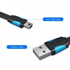 Кабель USB-MiniUSB 2.0 5pin Vention Flat 2m Black (VAS-A14-B200)