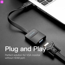 Адаптер HDMI-VGA v.1.4 Vention 0.2m Flat со звуком и питанием Black (ACKBB)