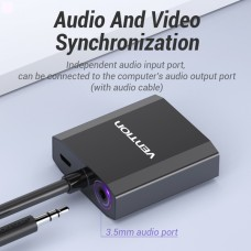 Адаптер HDMI-VGA Vention 0.2m со звуком и питанием Black (ACEB0)