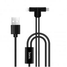 Кабель 2 в 1 USB-Lightning-MicroUSB Hoco X12 Magnetic L Shape 1.2m Black