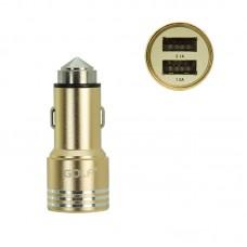 Адаптер автомобильный Golf 2 USB 2.1A GF-C06 золотистый