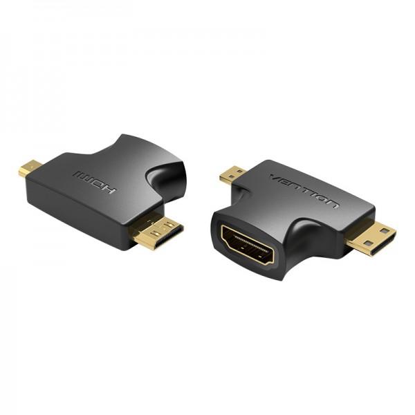 Адаптер 2 в 1 MicroHDMI-MiniHDMI-HDMI Vention (4K 30Hz MiniH) (1080p 60Hz MicroH) Black (AGFBO)